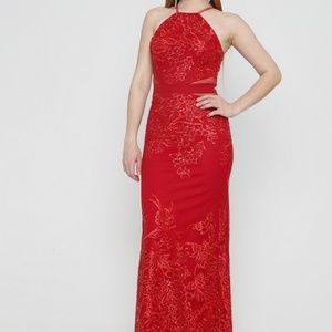 Red Sleeveless lace dress
